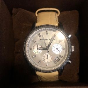White leather Michael Kors watch